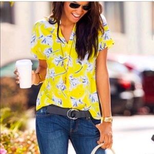 CAbi yellow and blue floral top M